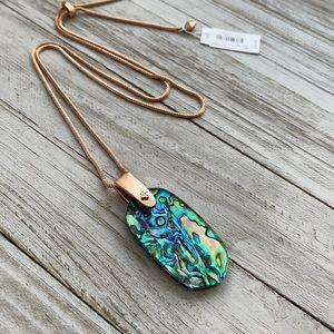 Kendra Scott Inez Necklace Rose Gold Abalone NEW